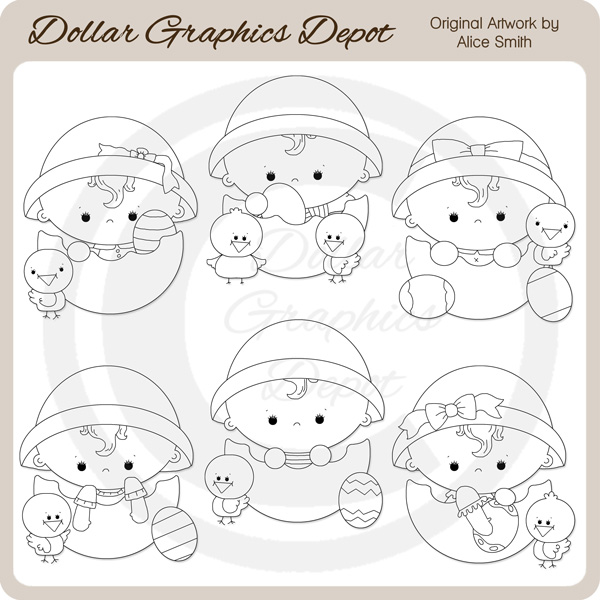 Baby Easter Eggs - Digital Stamps - Click Image to Close