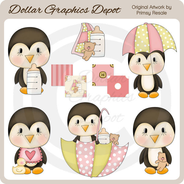 Baby Girl Penguins - Clip Art - Click Image to Close