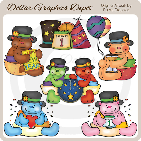 baby new year bears clip art 1 00 dollar graphics depot