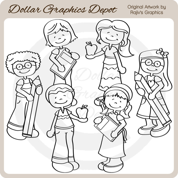 Back To School Kids 3 - Digital Stamps - Click Image to Close