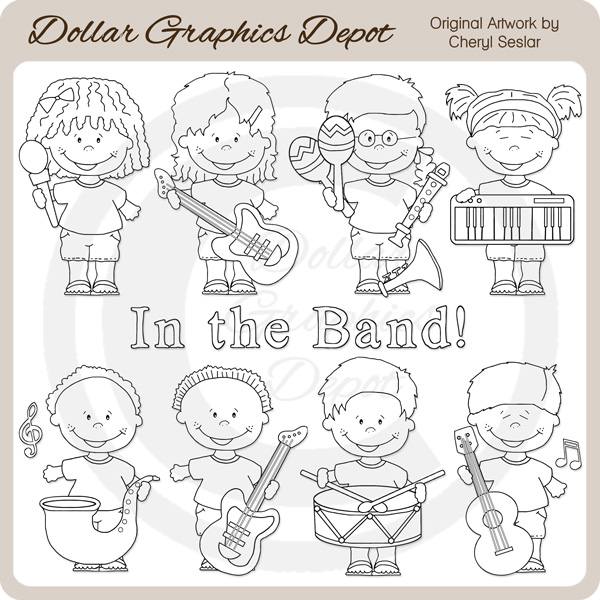 Band Kids - Digital Stamps - Click Image to Close