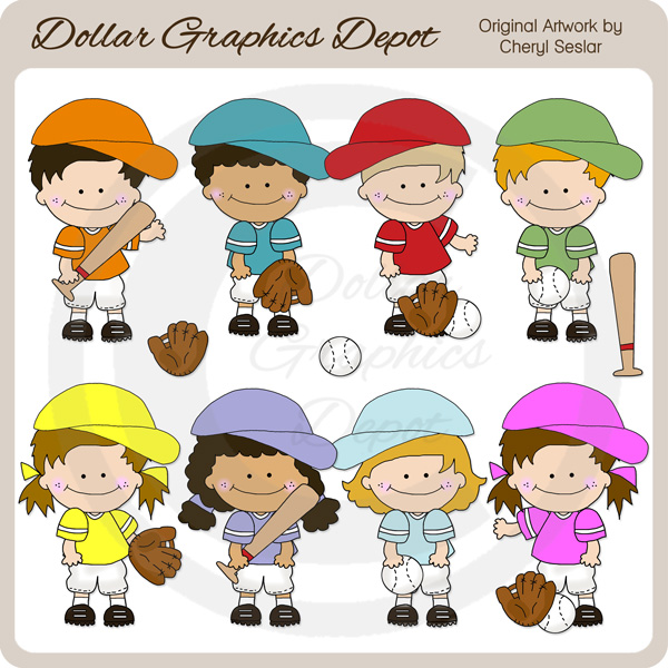 Baseball Kids - Clip Art - Click Image to Close