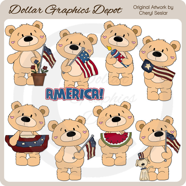 Bernard Bear - Americana - Clip Art - *DGD Exclusive* - Click Image to Close