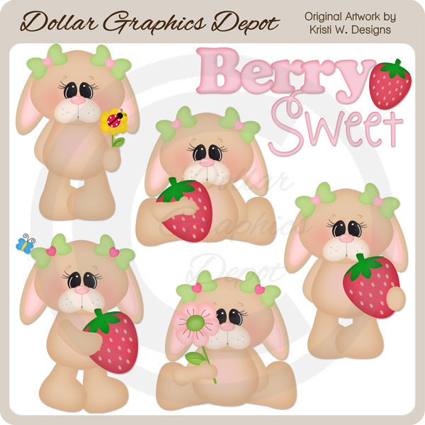 Berry Sweet Bunnies - Clip Art - *DGD Exclusive* - Click Image to Close
