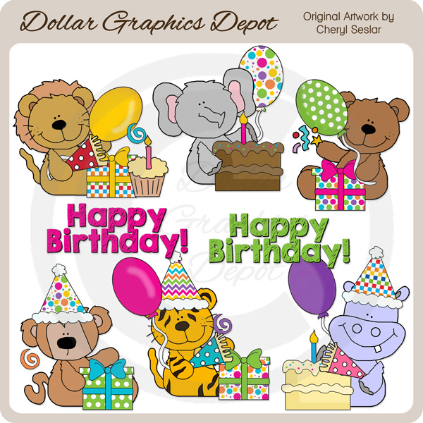 Birthday Safari Animals - Clip Art - *DGD Exclusive* - Click Image to Close