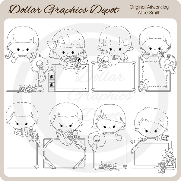 Blank Messages - Flowers - Digital Stamps - Click Image to Close