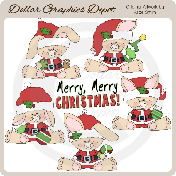 Christmas Bunnies - Clip Art - *DGD Exclusive* - Click Image to Close