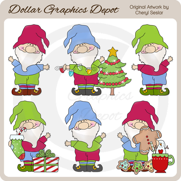 Christmas Gnomes Clipart.Christmas Gnomes Clip Art 1 00 Dollar Graphics Depot