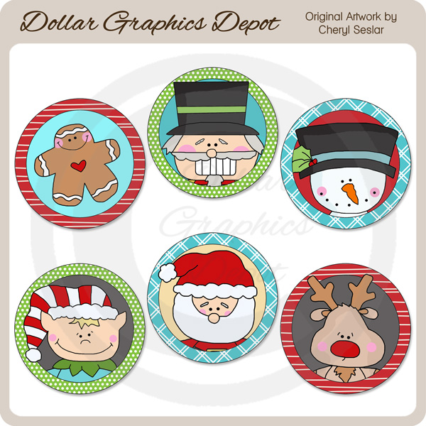 Christmas Littles Round Labels - Click Image to Close