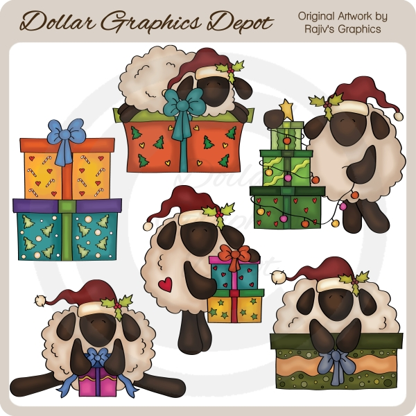 Christmas Sheep - Clip Art - Click Image to Close