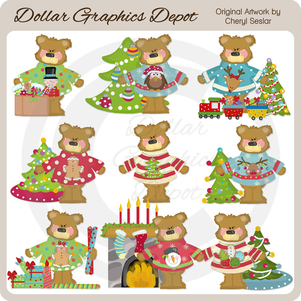 Christmas Sweater Bears - Clip Art - Click Image to Close