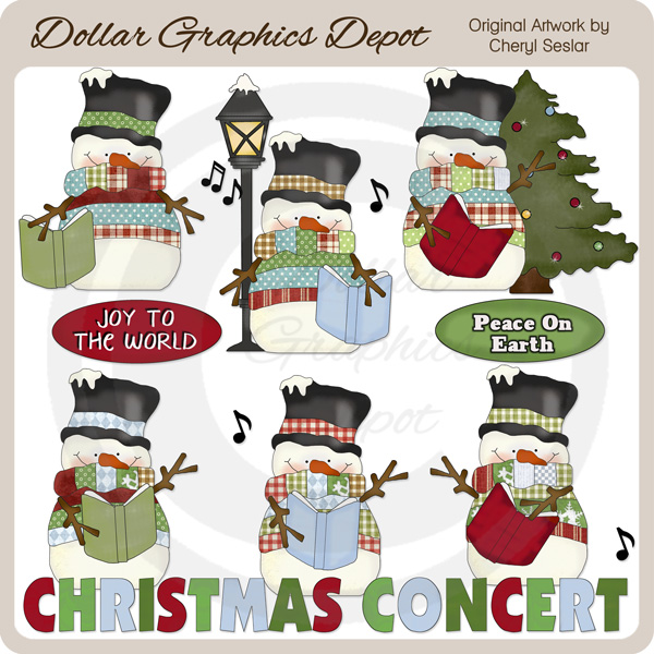 Country Snowmen - Christmas Concert - Clip Art - $1.00 : Dollar ...