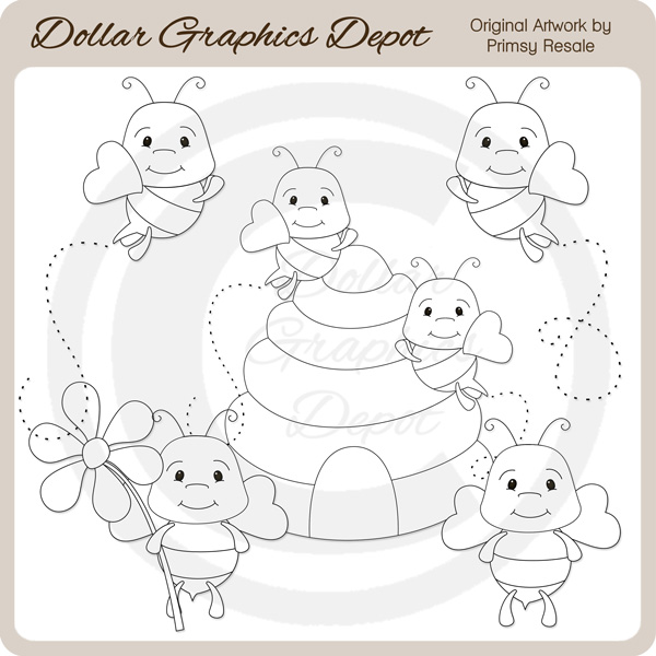 Cutie Bees - Digital Stamps - Click Image to Close
