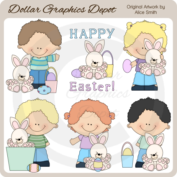 Easter Kids - Clip Art - *DGD Exclusive* - Click Image to Close