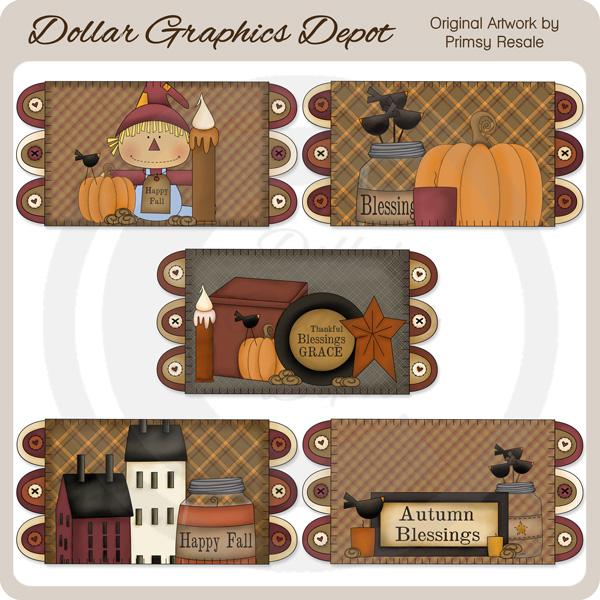 fall prims 1 penny rugs clip art