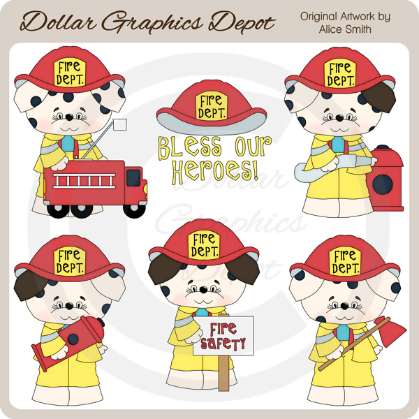 Firemen Pups - Clip Art - *DGD Exclusive* - Click Image to Close