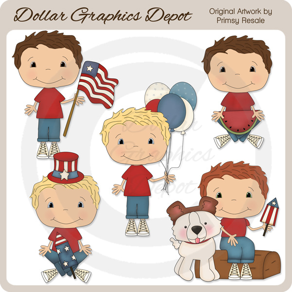 Fourth of July Boys - Clip Art - Click Image to Close