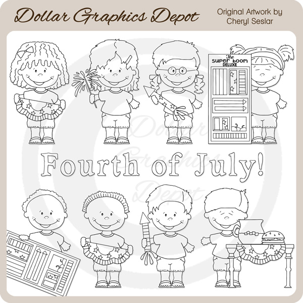 Fourth of July Kids - Clip Art - Click Image to Close
