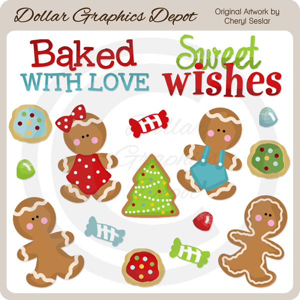 Gingerbread and Gumdrops - Clip Art - Click Image to Close