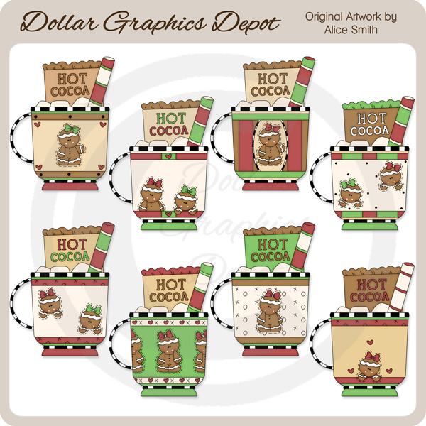 Gingerbread Cocoa Mugs - Clip Art - *DGD Exclusive* - Click Image to Close