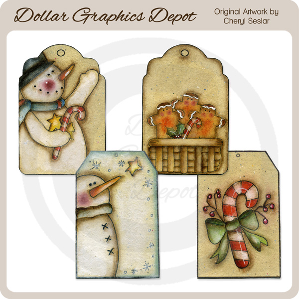 Hand Painted Winter Tags - Click Image to Close