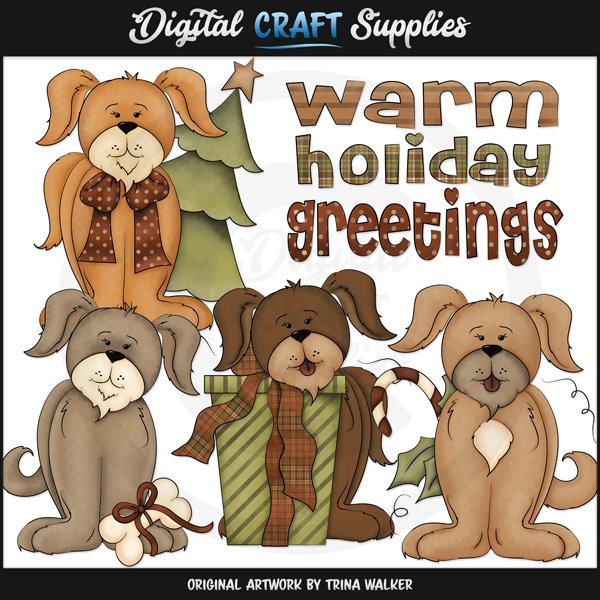 Holiday Puppies - Clip Art - Click Image to Close