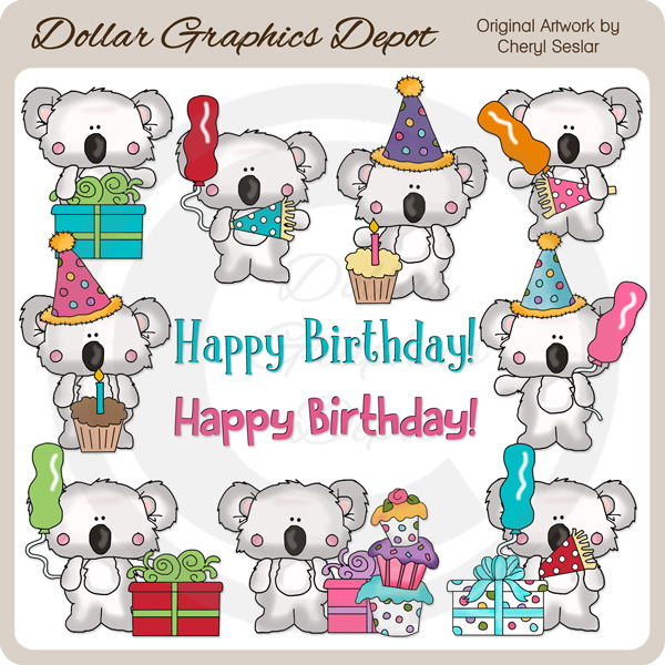 Little Koala - Birthday - Clip Art - *DGD Exclusive* - Click Image to Close