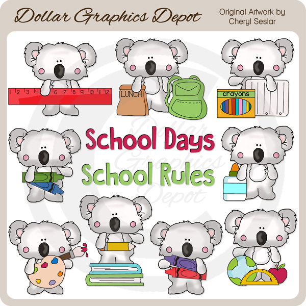Little Koala - School Days - Clip Art - *DGD Exclusive* - Click Image to Close