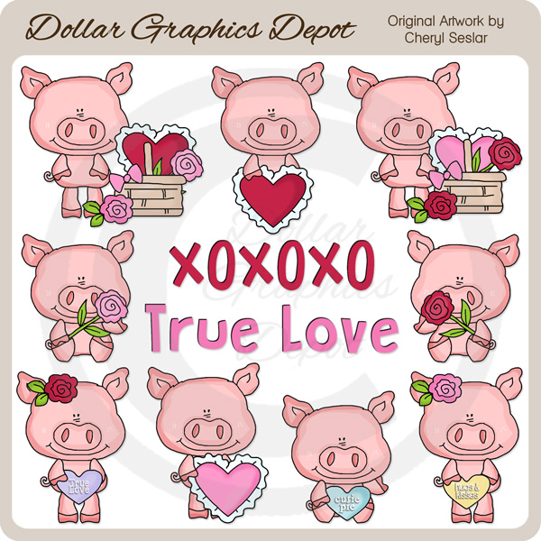 Little Valentine Pigs - Clip Art - *DGD Exclusive* - Click Image to Close