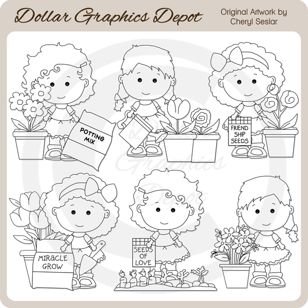 Lou Lou and Pals - Gardening - Digital Stamps - Click Image to Close