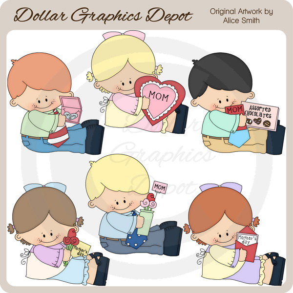 Mother's Day Kids - Clip Art - *DGD Exclusive* - Click Image to Close