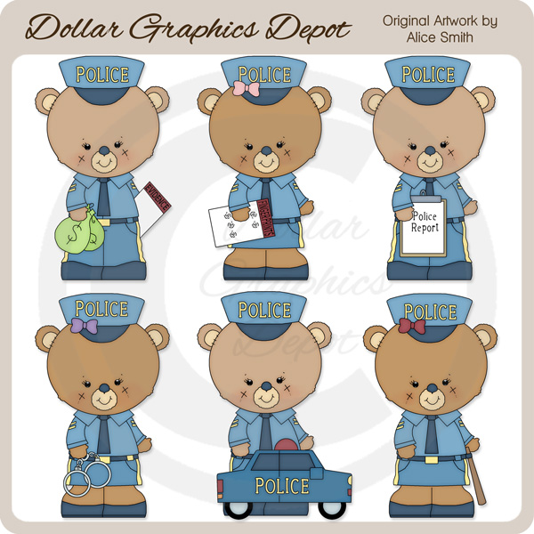 Occupation Bears - Police Officers - Clip Art - *DGD Exclusive* - Click Image to Close