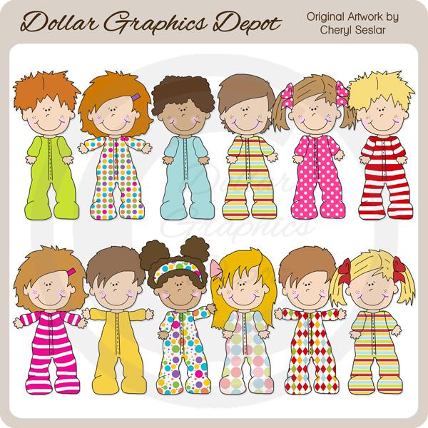 Pajama Kids - Clip Art -  1.00   Dollar Graphics Depot 1200c2855