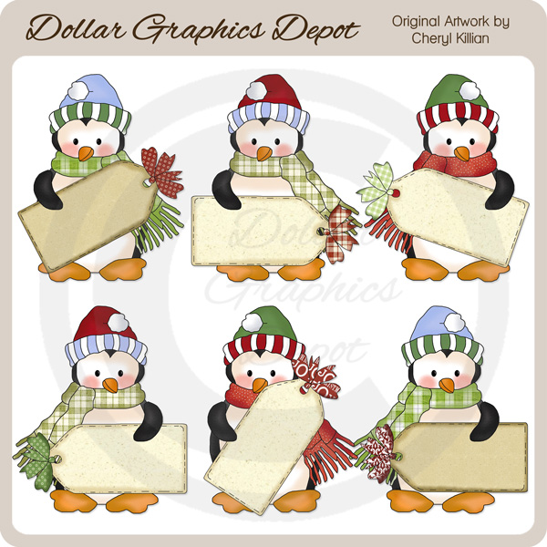 Penguin Cuties - Christmas Tags - Clip Art - Click Image to Close