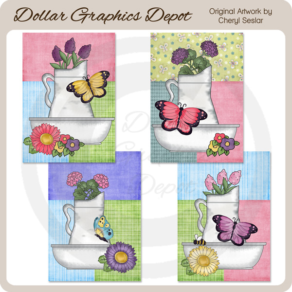 Pretty Butterfly Flower Basin Cards - Printables - Click Image to Close