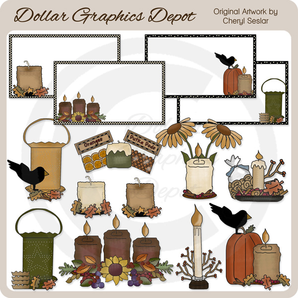 Prim Harvest Candles - Clip Art - $1.00 : Dollar Graphics Depot ...