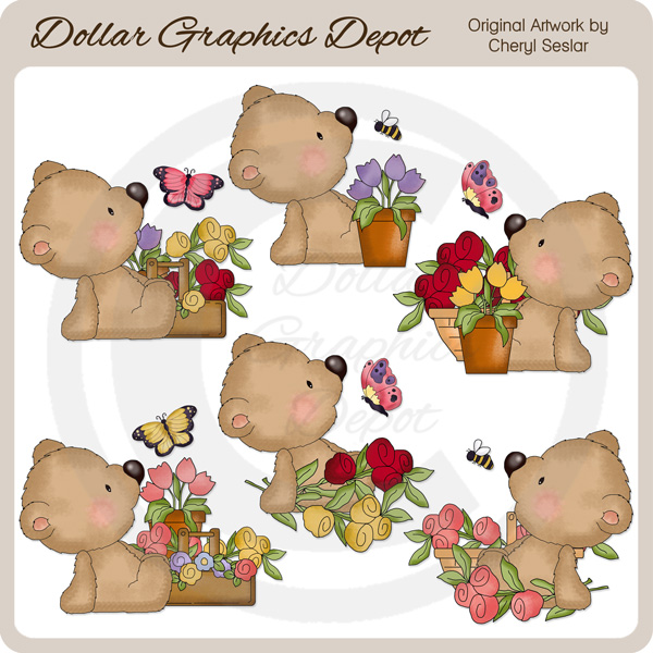 Sampson Bear Loves Flowers - Clip Art - Click Image to Close