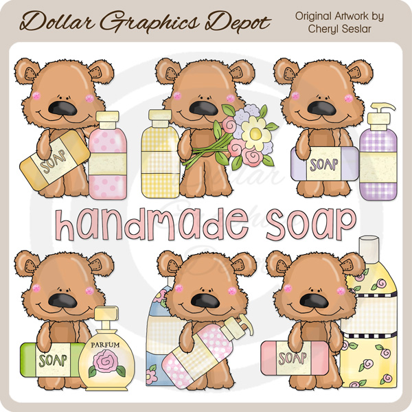 Scruffy Bear Loves Soap - Clip Art - Click Image to Close