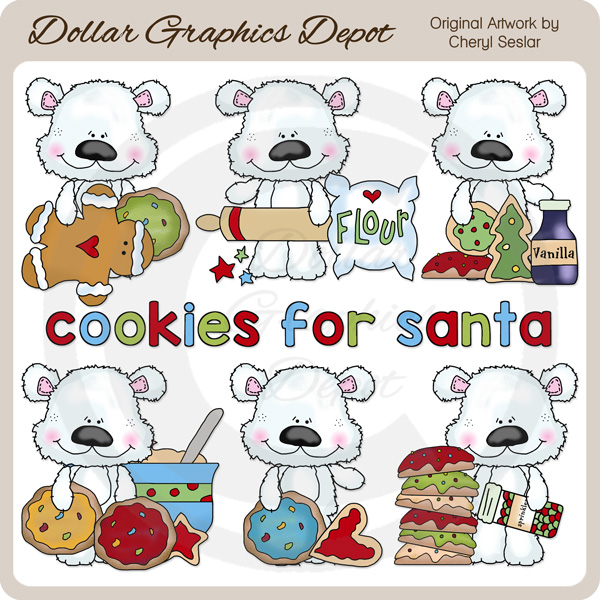 Scruffy Polar Bear - Cookies For Santa - Clip Art - Click Image to Close