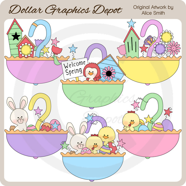Spring & Easter Umbrellas - Clip Art - *DGD Exclusive* - Click Image to Close