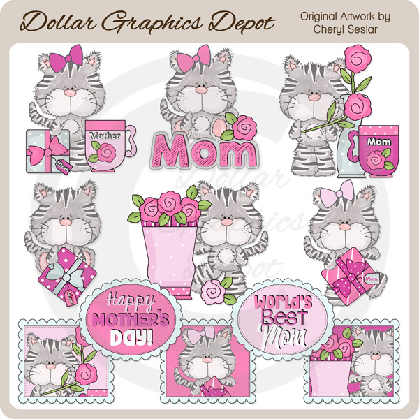 Sweet Kitty - Mother's Day - Clip Art - Click Image to Close