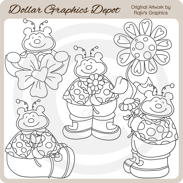 Sweet Ladybug Bears - Digital Stamps - Click Image to Close
