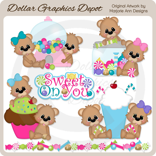 Sweet On You Bears - Clip Art - Click Image to Close