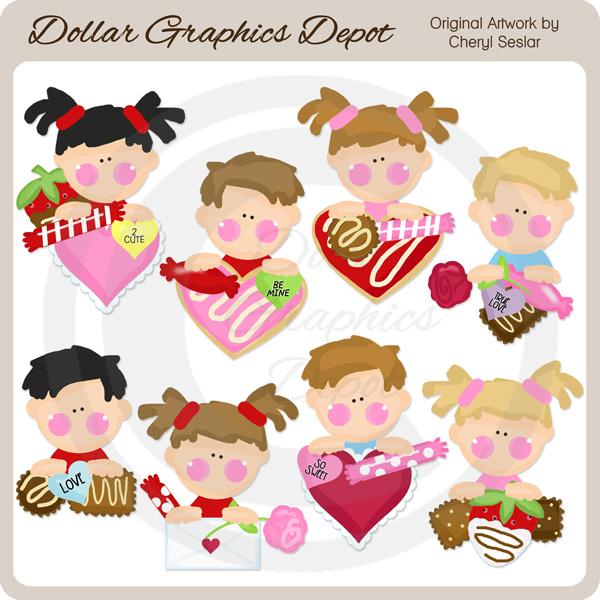 Sweet Valentine Kids - Clip Art - $1.00 : Dollar Graphics Depot ...
