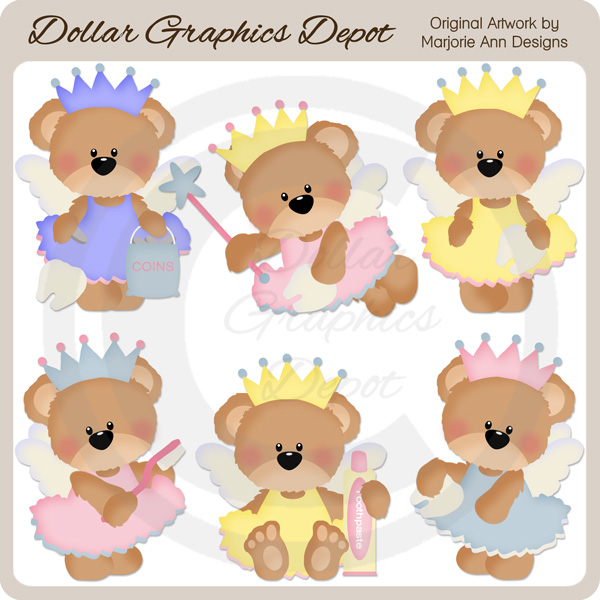 Tooth Fairy Bears 1 - Clip Art - Click Image to Close