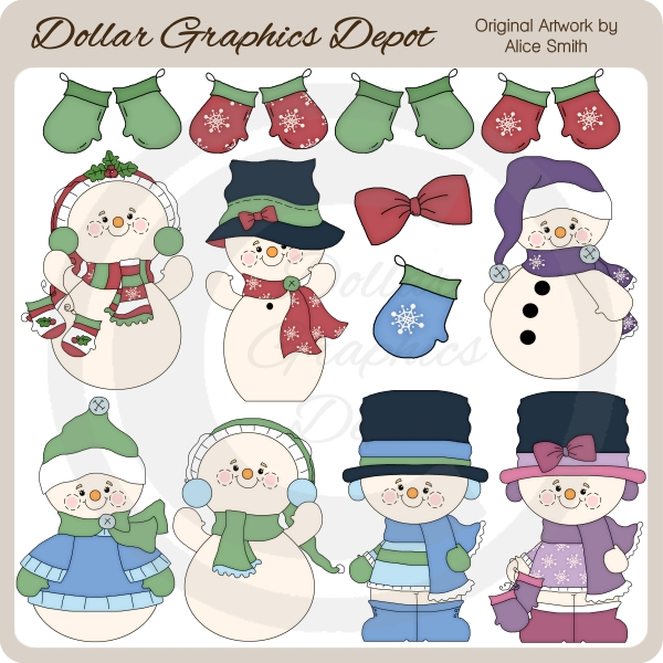 Winter Snowmen 2 - Clip Art - *DGD Exclusive* - Click Image to Close