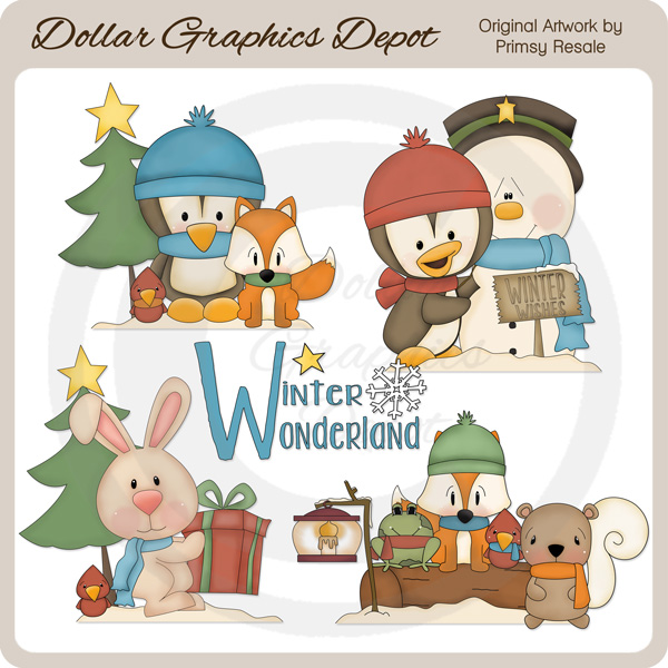 Winter Wonderland Critters 1 - Clip Art - Click Image to Close