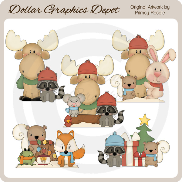 Winter Wonderland Critters 3 - Clip Art - $1.00 : Dollar Graphics ...